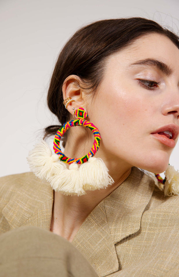 Load image into Gallery viewer, Sandra Earrings - Mochi - Big colorful earrings with tassels