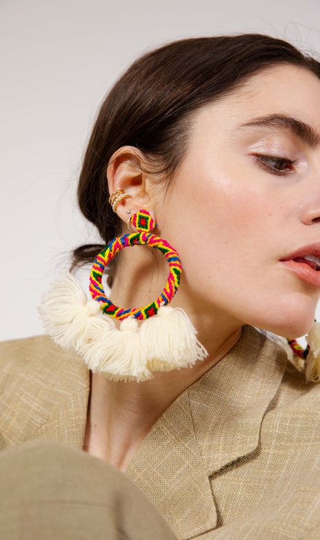 Sandra Earrings - Mochi - Big colorful earrings with tassels
