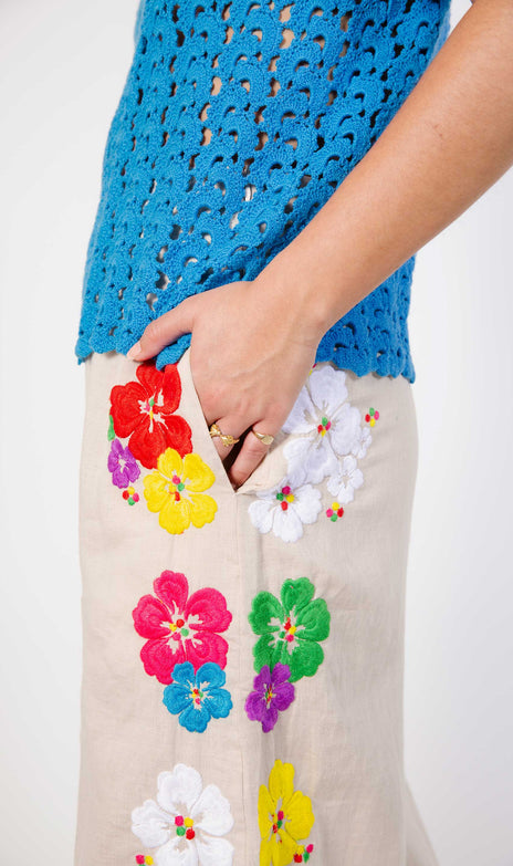 Paloma Pants - Mochi - Wide Linen Pants With Colorful Flowers