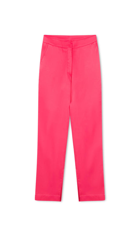 Venus Pants - Mochi - Pink silk straight cut pants (front)
