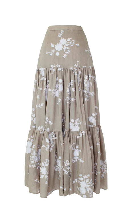 Vilma Skirt - Mochi - Beige skirt with various floral prints (front)
