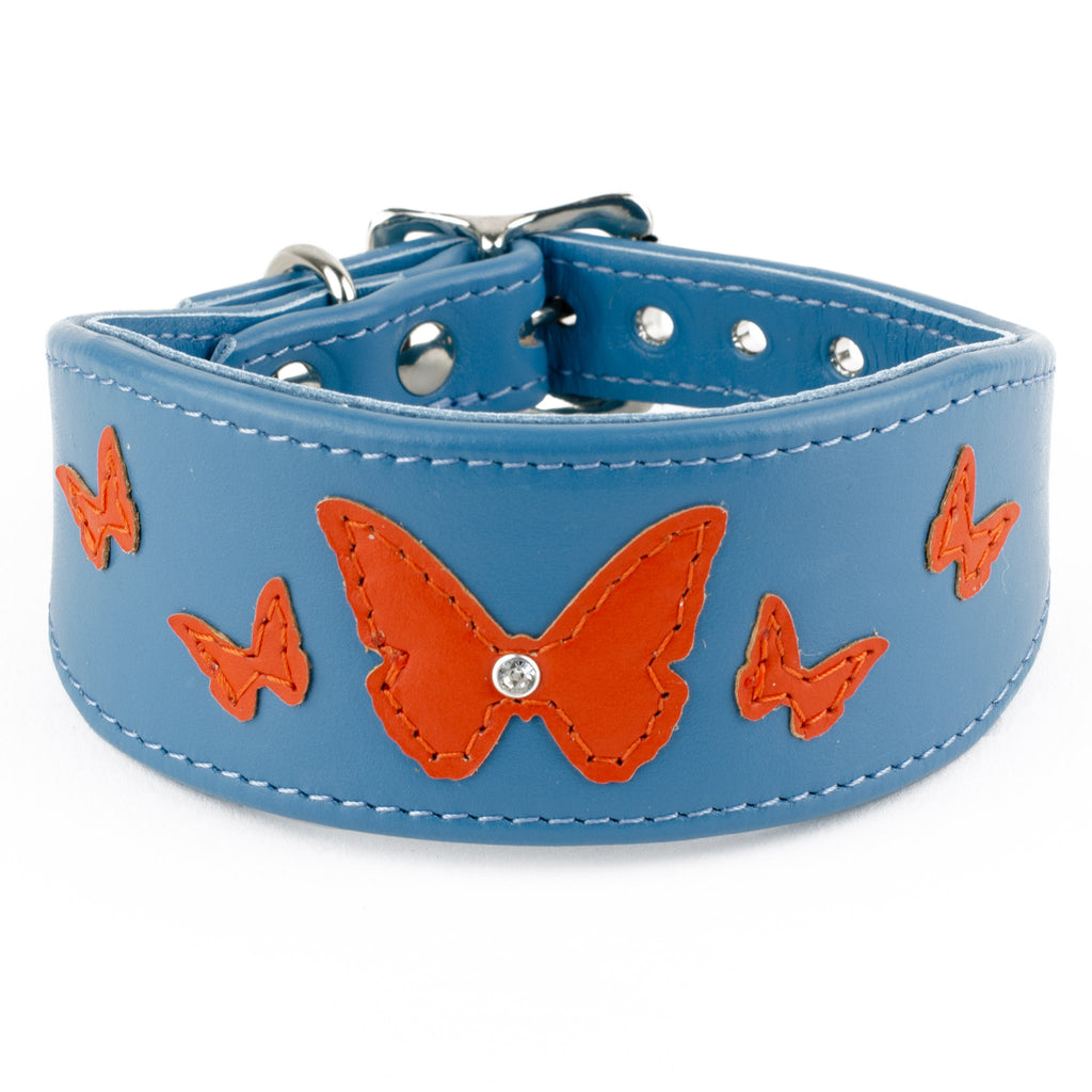 Butterfly Farm handmade leather lurcehr collar by Petiquette Collars