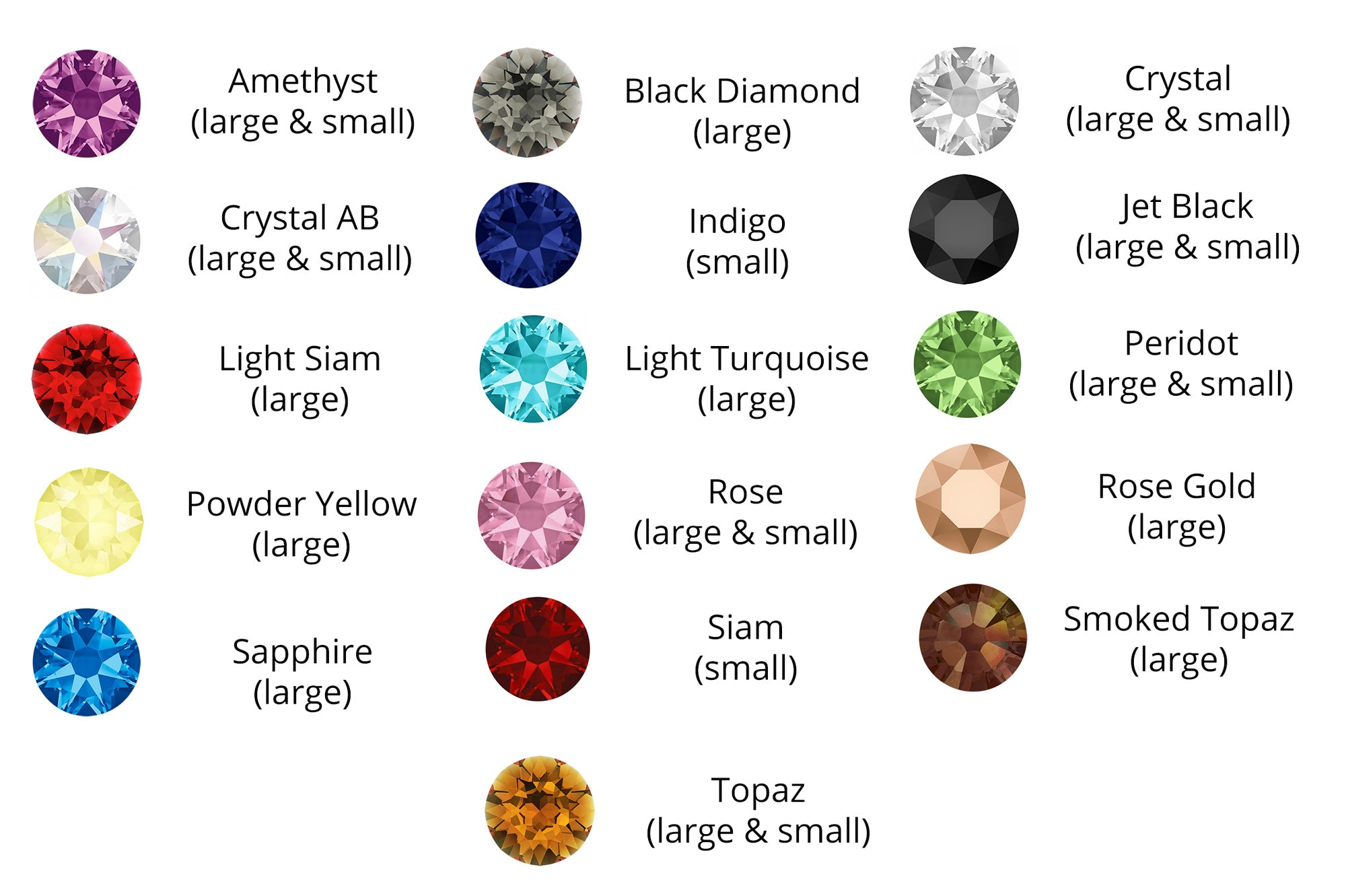 crystal collar colour choices