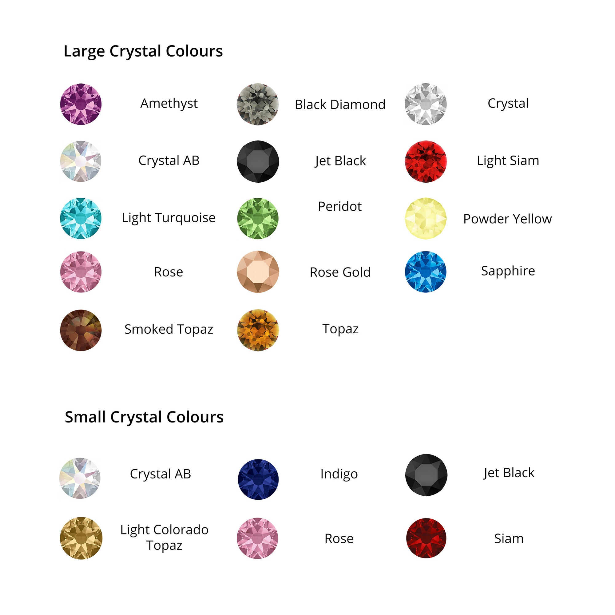 crystal colour choices