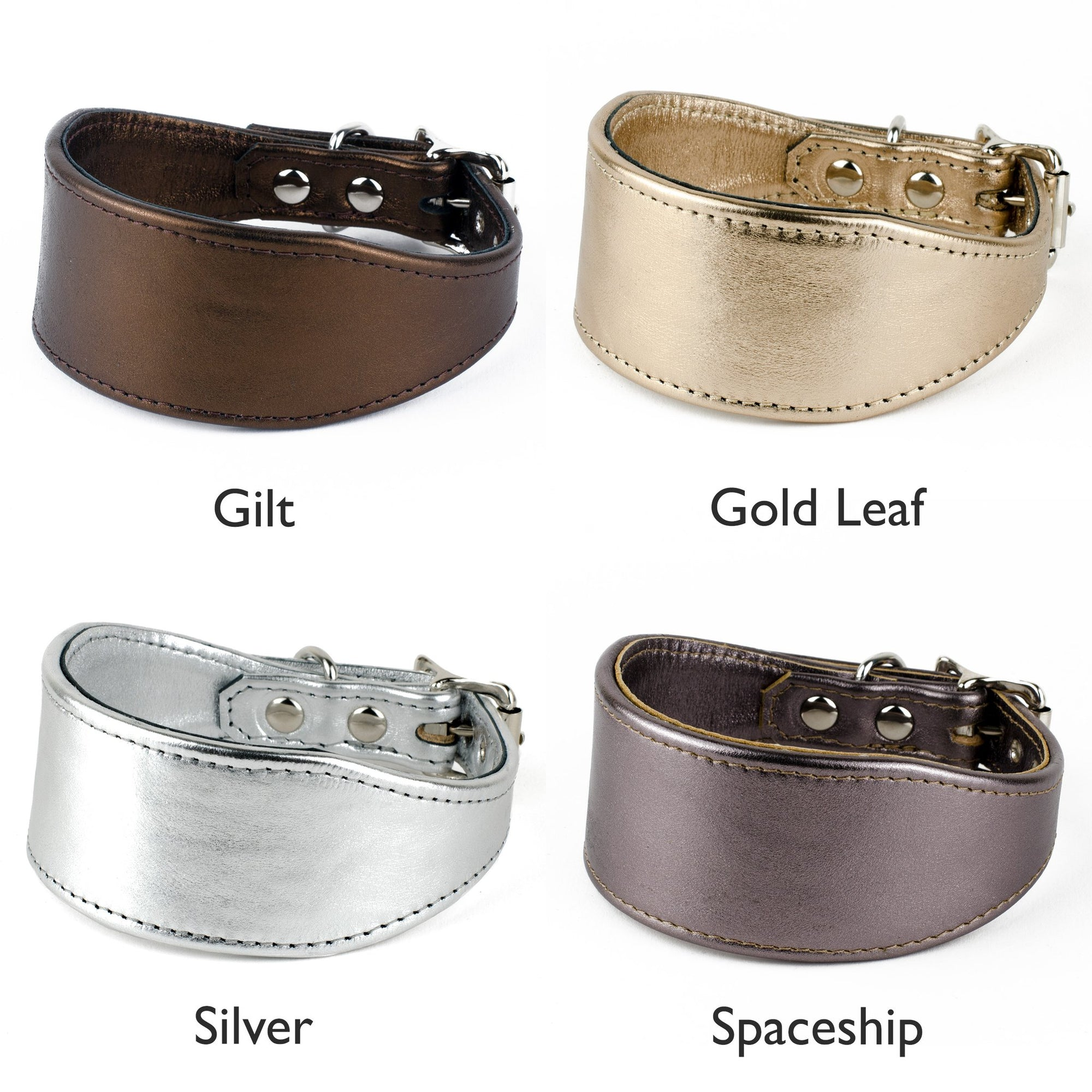 metallic leather dog collar colour options