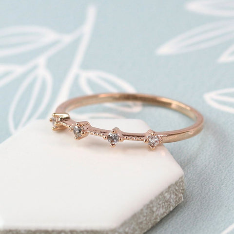 Ring - Rose Gold Plated with 4 Crystals