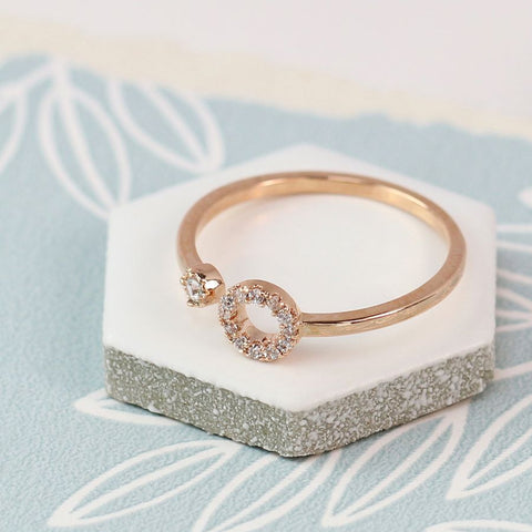 Ring - Rose Gold Plated with Circle & Stud Crystals - 03044