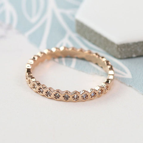 Ring - Rose Gold Plated with Crystal Detailing - 03046