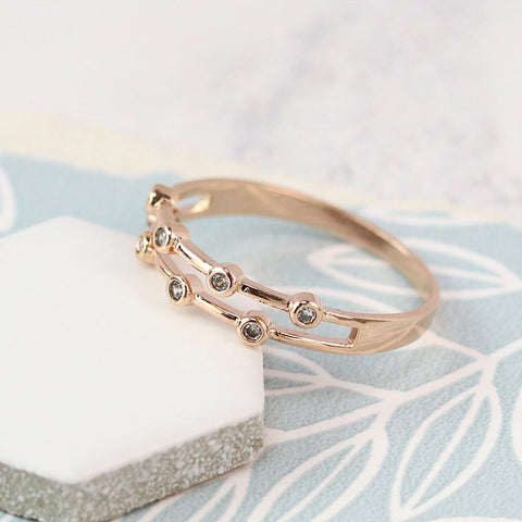 Ring - Rose Gold Plated with Crystal Detailing - 03048