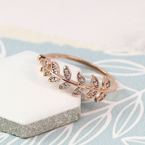 Ring - Rose Gold Plated leaf with Crystal Detailing - 03052
