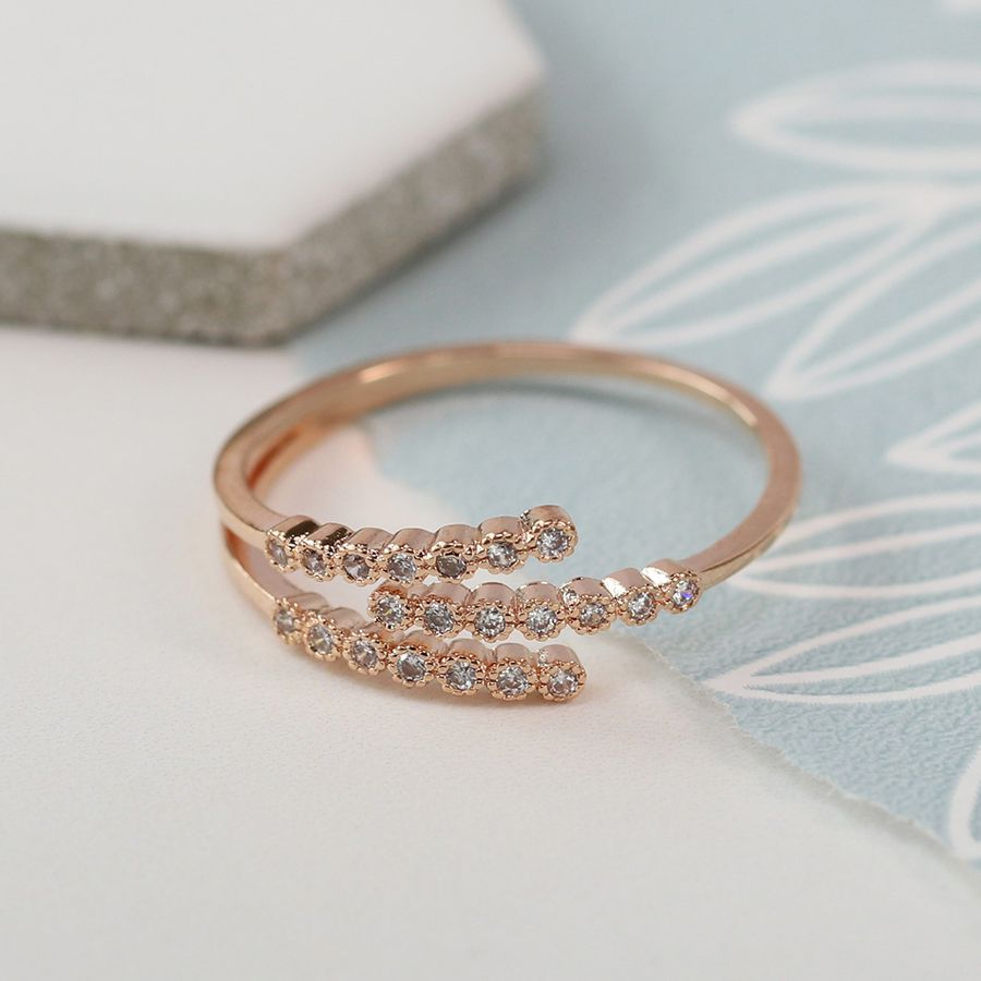 Ring - Rose Gold Plated Trio with Crystal Detailing - 03056