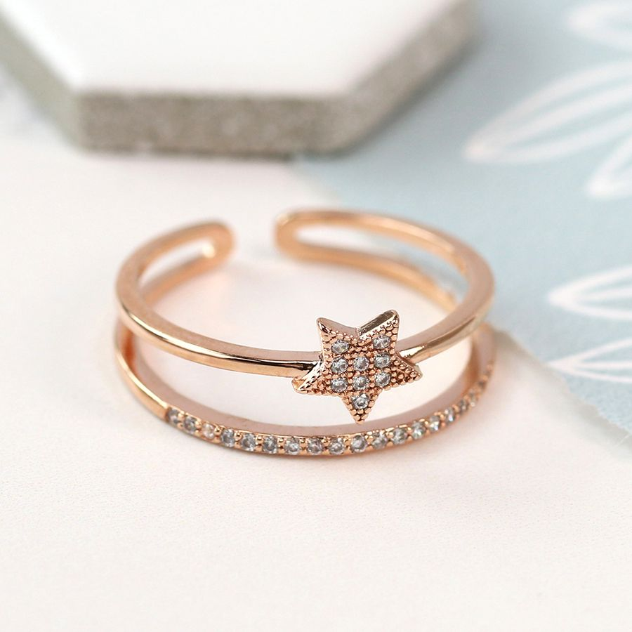 Ring - Rose Gold Plated Star with Crystal Detailing - 03058