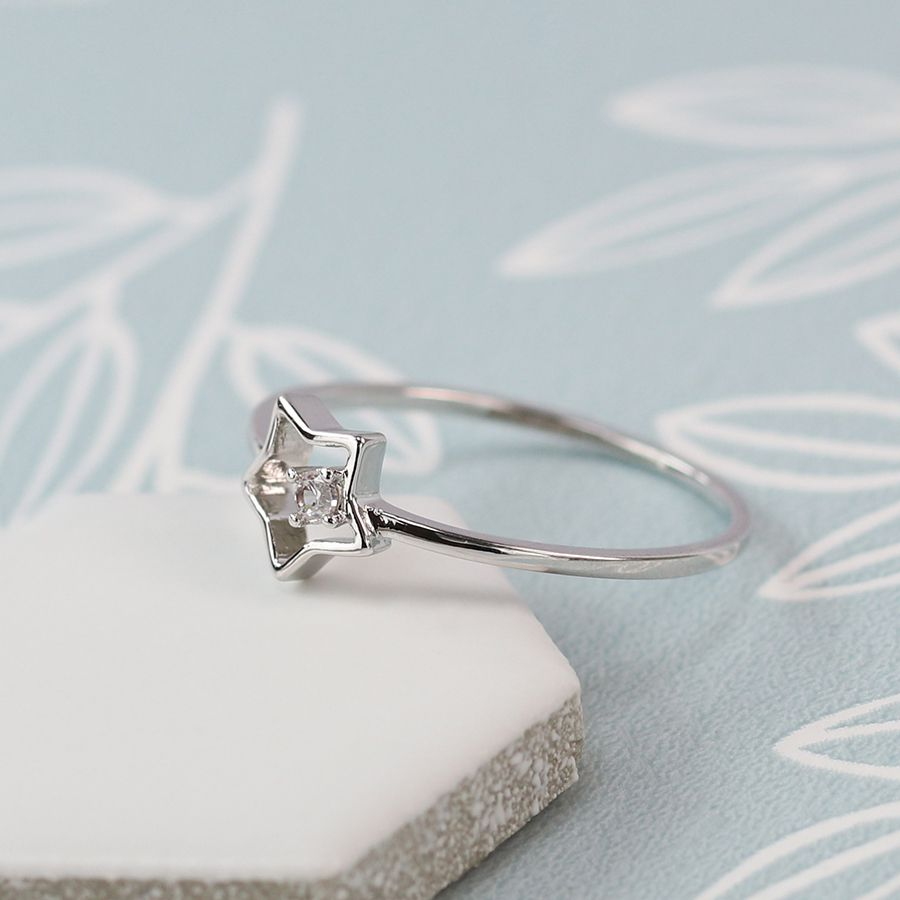 Ring - Silver Plated Star with Crystal Detailing - 03060