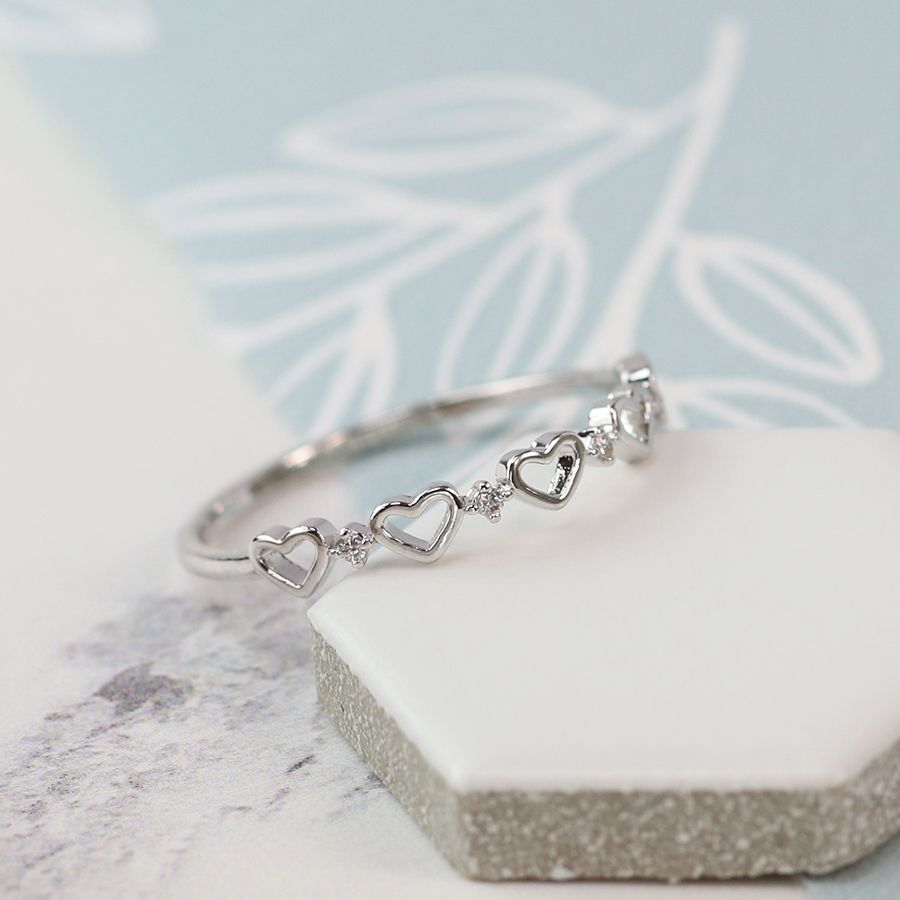 Ring - Silver Plated Hearts with Crystal Detailing - 03062
