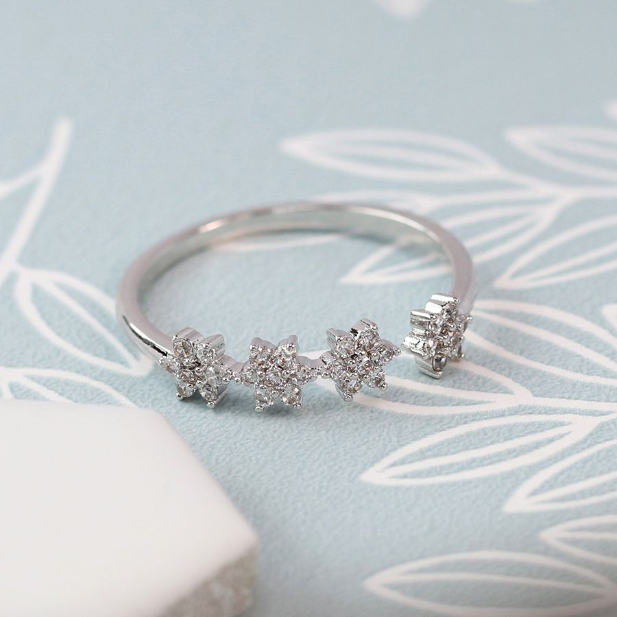 Ring - Silver Plated Stars with Crystal Detailing - 03070