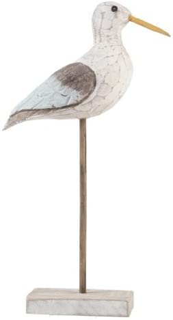Wooden carved Antique Wash Seagull Ornament by Gisela Graham
