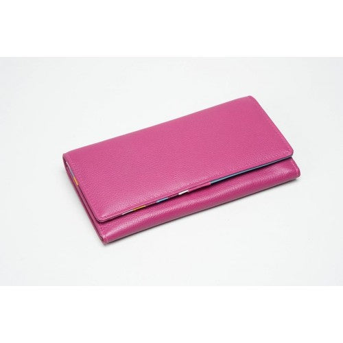 Pink Leather Multi Compartment Purse (RFID) - 603015