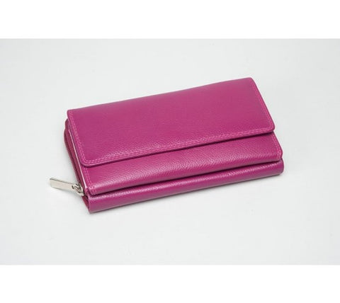 Large Leather Multi Compartment Purse Hot Pink (RFID) - 603020