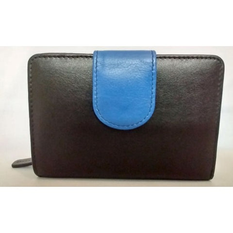 Medium Leather Multi Compartment Purse Black/Blue (RFID) - 603023