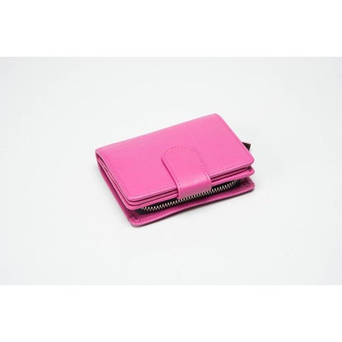 Small Leather Multi Compartment Purse Hot Pink (RFID) - 603214