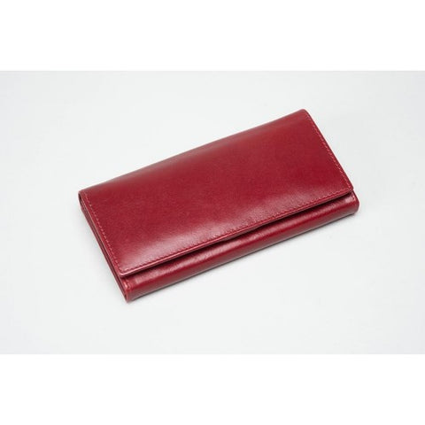 Berry Red Leather Multi Compartment Purse (RFID) - 603264