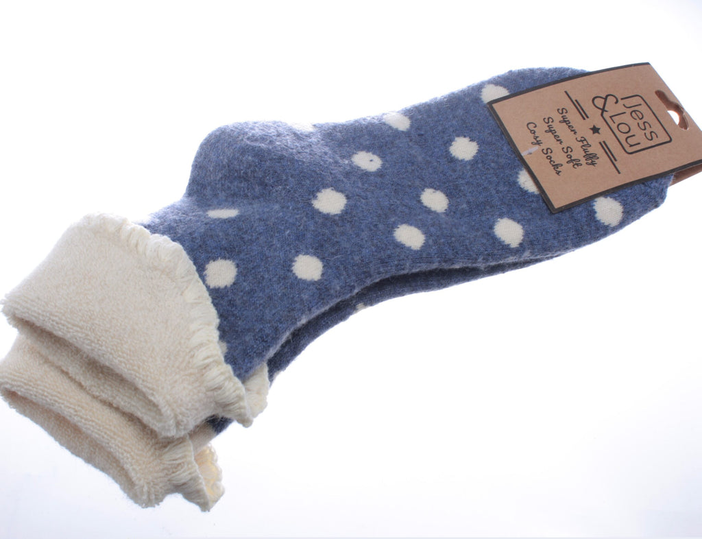 Cosy Toes Blue with Large White Dots