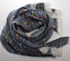 Cosy Charcoal Scarf with Multi Coloured Woven Stripe