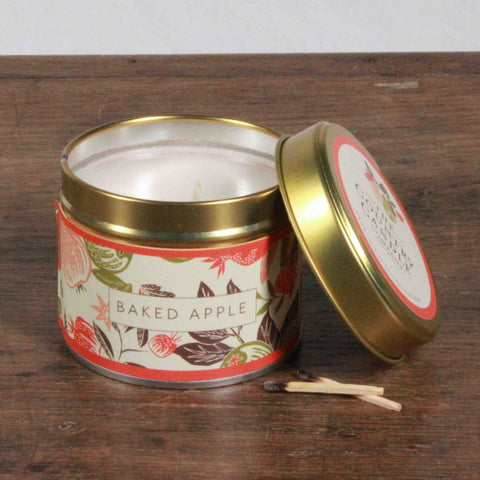 Fragrant Orchard Baked Apple Gold Tin Candle