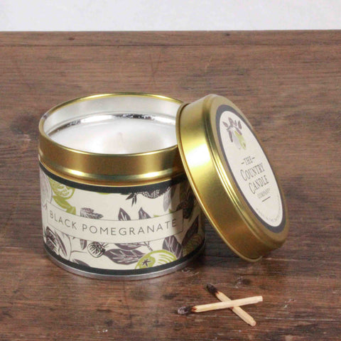 Fragrant Orchard Black Pomegranate Gold Tin Candle