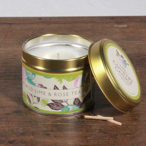 Fragrant Orchard Wild Lime & Rose Tea Gold Tin Candle