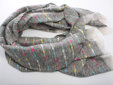 Cosy Grey Scarf with Multi Coloured Woven Stripe