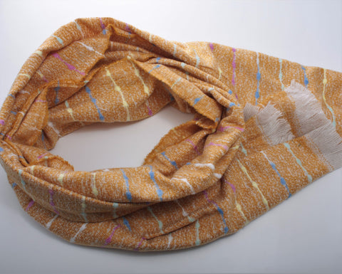 Cosy Mustard Scarf with Multi Coloured Woven Stripe