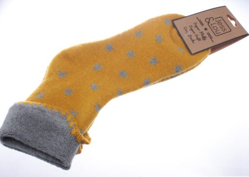 Cosy Toes Mustard with Grey Stars