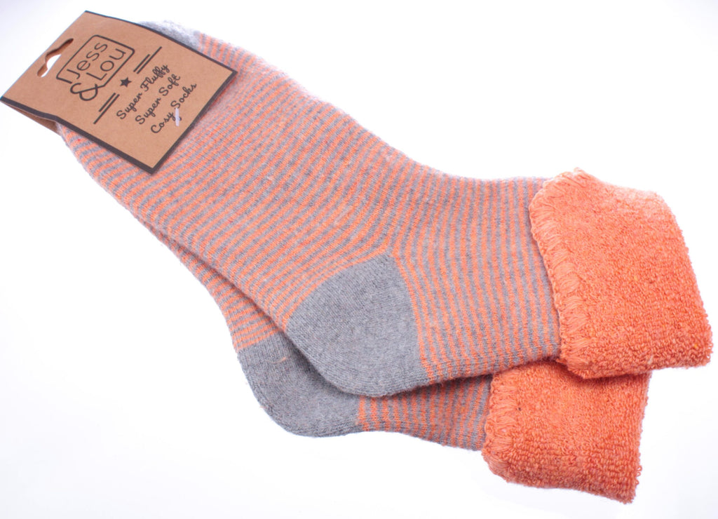 Cosy Toes Orange with Grey Stripes