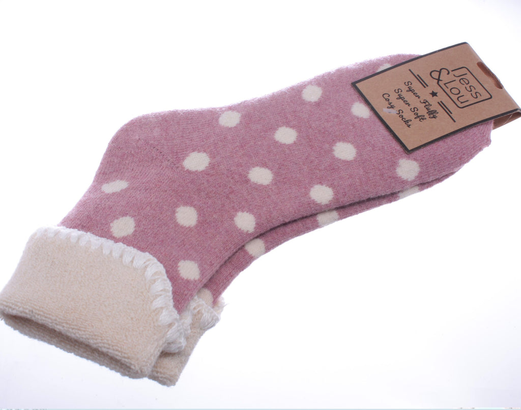 Cosy Toes Pink with Large White Dots