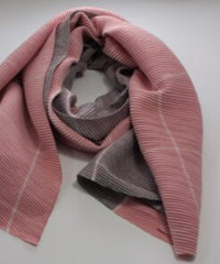 Super Waffle Scarf with 2 Tone Grey/Pink Check
