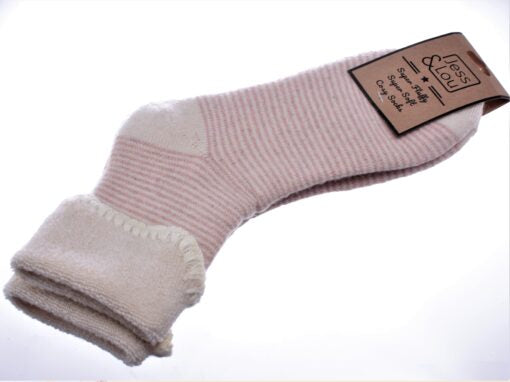 Cosy Toes White with Pink Stripe