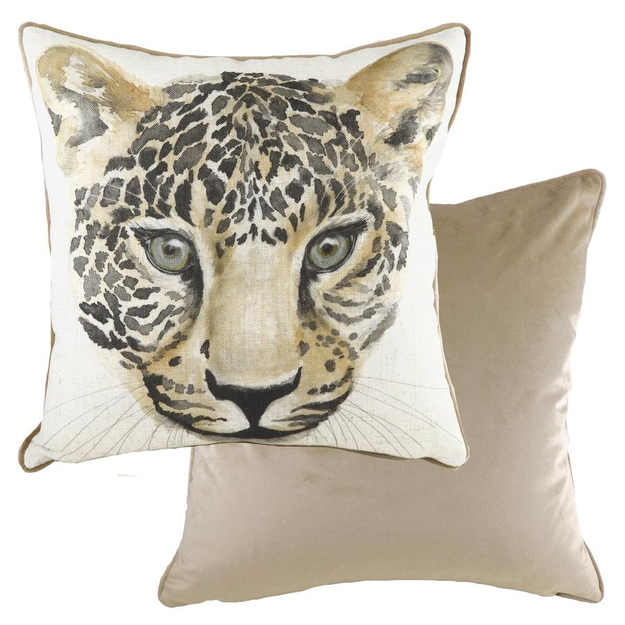 Safari Piped Cushion Square - Leopard
