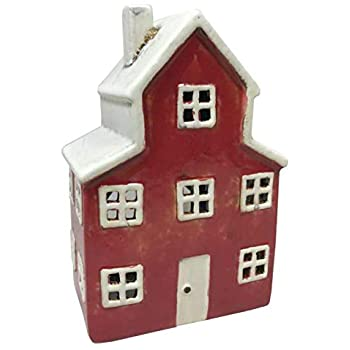 Ceramic Tealight House Red