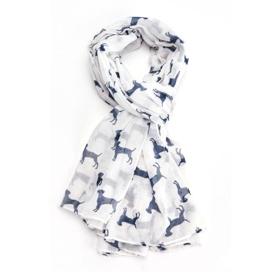 Dogs Scarf in White
