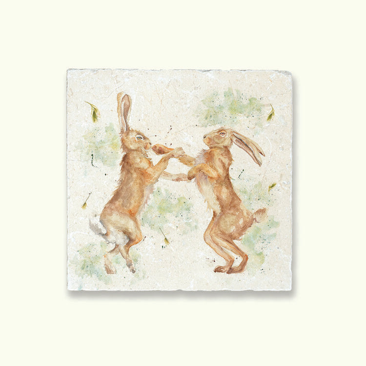 Kate of Kensington Collection: Boxing Hares Medium Platter