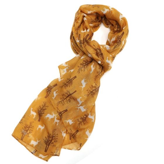 Winter Deer Scarf Mustard