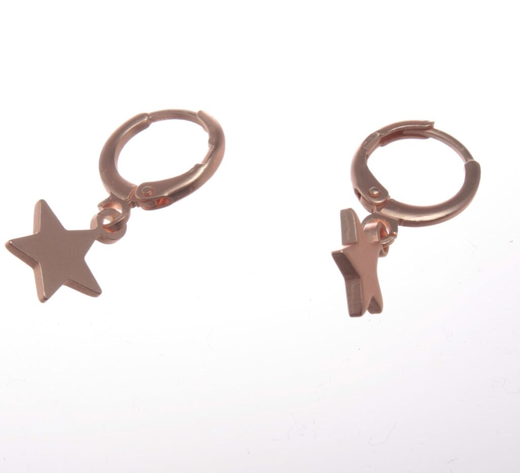 Earrings - Mini Star Huggie Earring Rose Gold