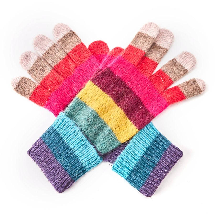 Gloves -  Woollen gloves with Rainbow Stripes - pink