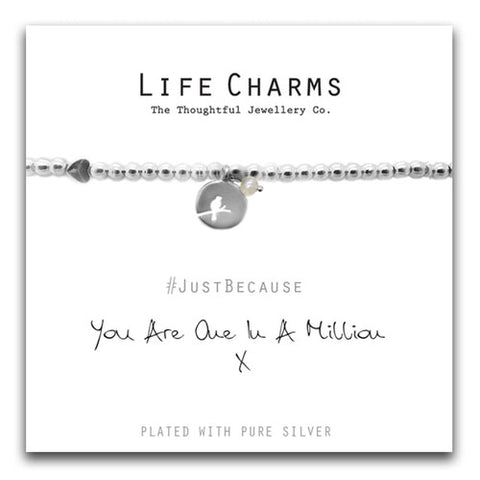"Silver Plated boxed bracelet  ""just because your One in a million"" strap line and gift boxed"
