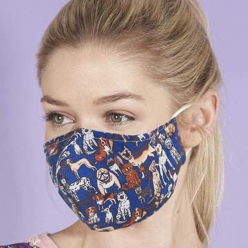 Reusable washable Face Mask Blue Dogs
