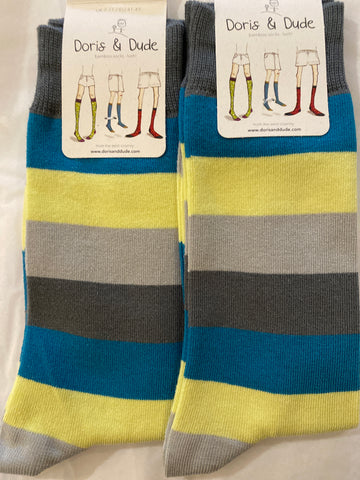 Bamboo Socks super soft 7-11 Grey, yellow and blue multi stripe