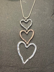 Long Cascading Triple Heart Silver & Rose GoldNecklace