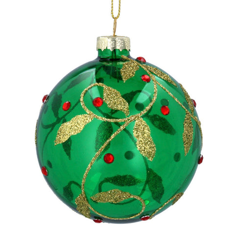 Green w Gold/Red Vine/Berries Glass Bauble (8cm)