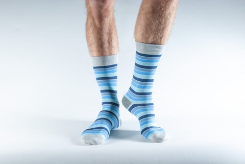 Bamboo Socks 7-11 Grey & Blue Striped